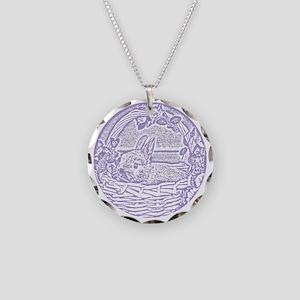 Lavender Basket Bunny Woodcu Necklace Circle Charm