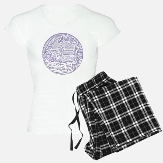Lavender Basket Bunny Woodc Pajamas