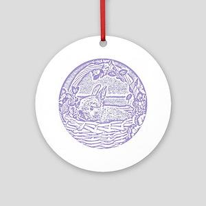 Lavender Basket Bunny Woodcut Round Ornament