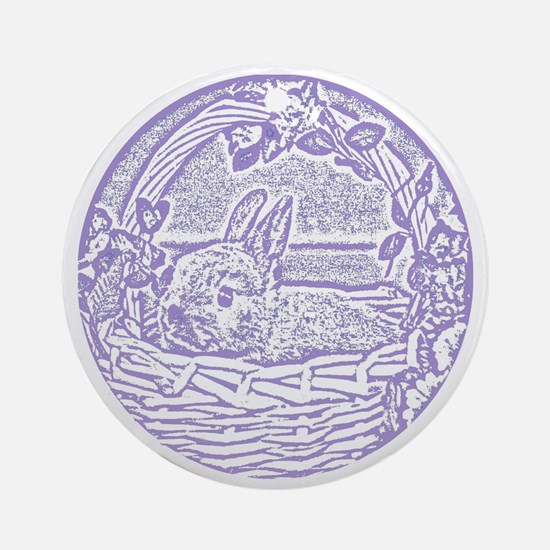 Lavender Basket Bunny Woodcut Round Ornament