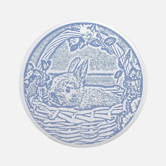 Wedgewood Blue Basket Bunny Woodcut Round Ornament