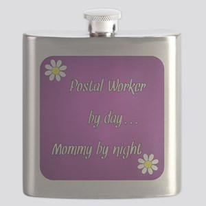 Postal Worker by day Mommy by night Flask