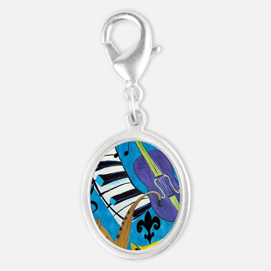 Jazz Music art Silver Oval Charm