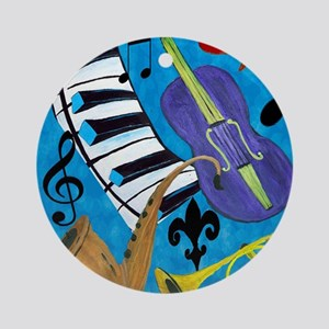 Jazz Music art Round Ornament