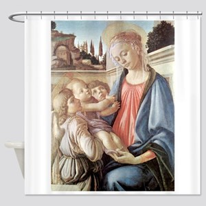 Madonna with two angels - Botticelli Shower Curtai