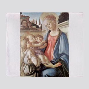 Madonna with two angels - Botticelli Throw Blanket
