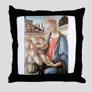 Madonna with two angels - Botticelli Throw Pillow
