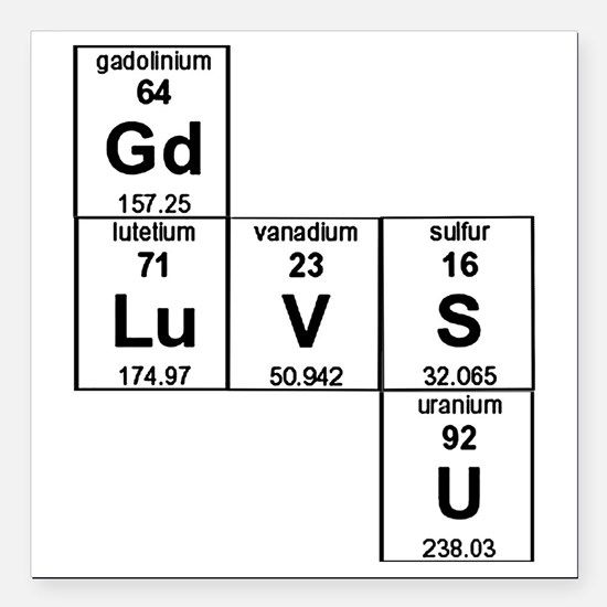 "Periodic Table God Loves Square Car Magnet 3"" x 3"""