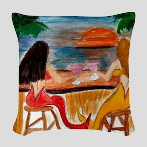 Martini Mermaids art Woven Throw Pillow