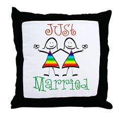 Lesbian Just Married Throw Pillow