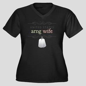 U.S. ARNG Wi Women's Plus Size Dark V-Neck T-Shirt