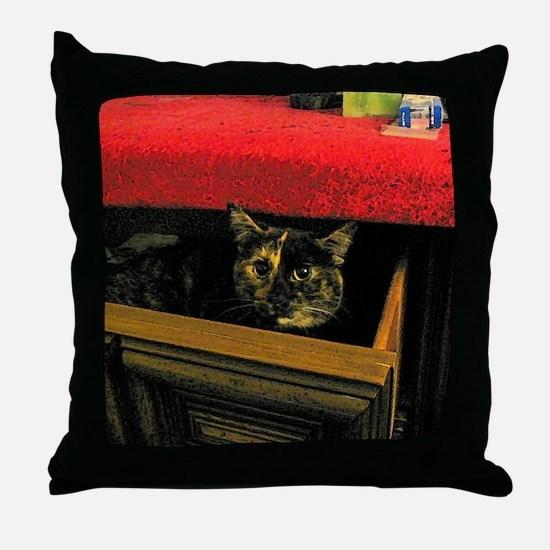 Kitten hiding in sock drawer Throw Pillow