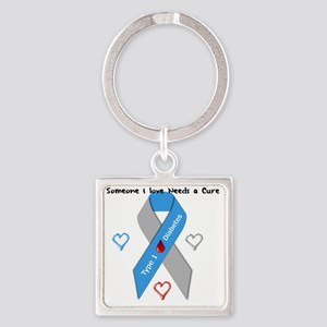 Type 1 Diabetes Awareness Ribbon L Square Keychain