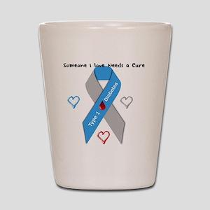 Type 1 Diabetes Awareness Ribbon Love C Shot Glass