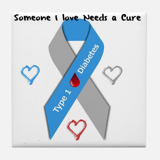 Type 1 Diabetes Awareness Ribbon Love Tile Coaster