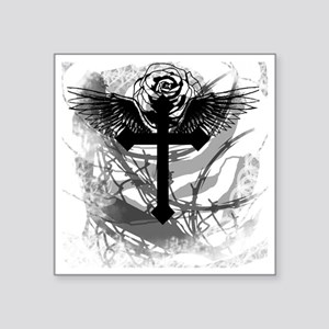 "Cross Rose and Barbed Wire  Square Sticker 3"" x 3"""