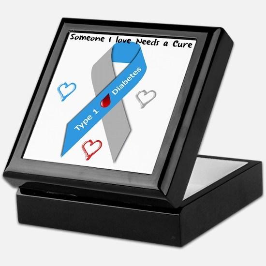 Type 1 Diabetes Awareness Ribbon Love Keepsake Box