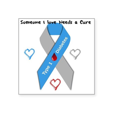 "Type 1 Diabetes Awareness R Square Sticker 3"" x 3"""