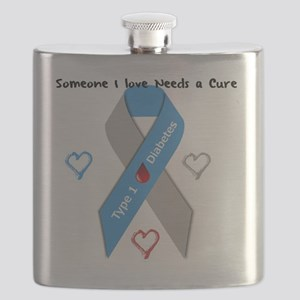 Type 1 Diabetes Awareness Ribbon Love Cure Flask