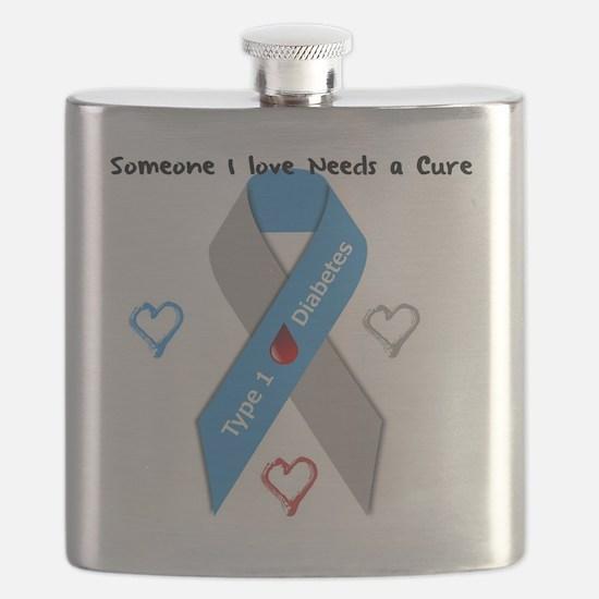 Type 1 Diabetes Awareness Ribbon Love Cure Flask