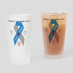 Type 1 Diabetes Awareness Ribbon Lo Drinking Glass