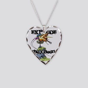 Disc Golf EXPLODE THE CHAINS Necklace Heart Charm