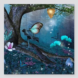 """Enchanted Forest Square Car Magnet 3"""" x 3"""""""