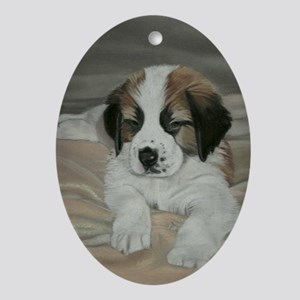 saint bernard puppy Oval Ornament