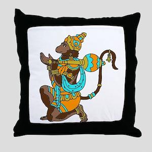 Kneeling Hanuman Throw Pillow