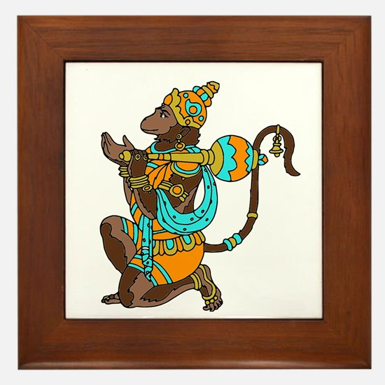 Kneeling Hanuman Framed Tile