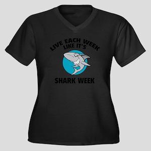 SHARK33 Women's Plus Size Dark V-Neck T-Shirt