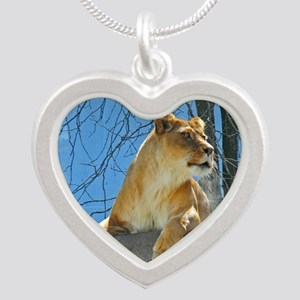 Lioness Silver Heart Necklace