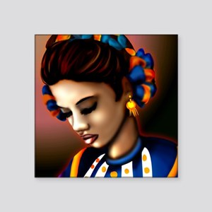 "Mexican Jalisco Dancer Square Sticker 3"" x 3"""