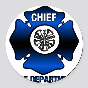 Fire Chief Round Car Magnet