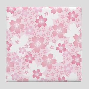 Pink Flowers Tile Coaster