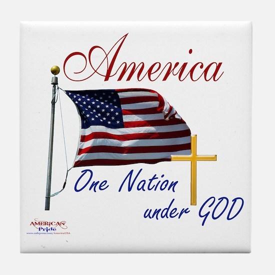 America One Nation Under God Tile Coaster
