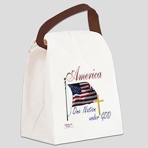 America One Nation Under God Canvas Lunch Bag