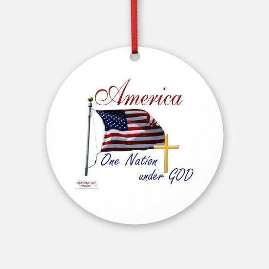 America One Nation Under God Round Ornament