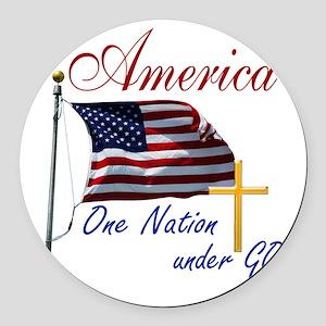 America One Nation Under God Round Car Magnet