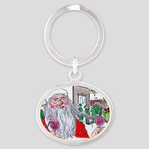 Santas buying! Oval Keychain