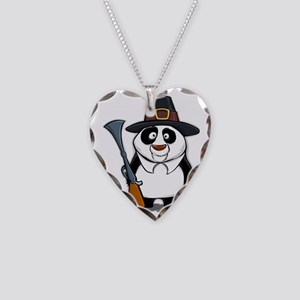 Thanksgiving Panda Pilgrim Necklace Heart Charm