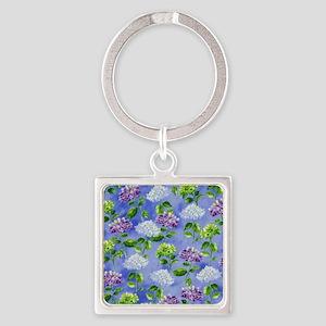 Hydrangeas Floral Blue Square Keychain