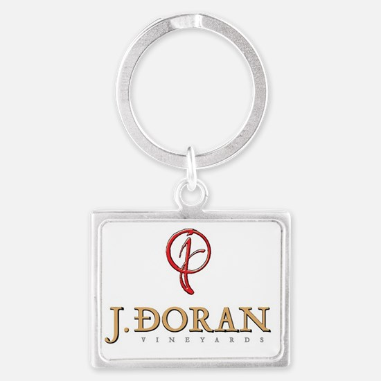J Doran Vineyards Logo Wht Landscape Keychain