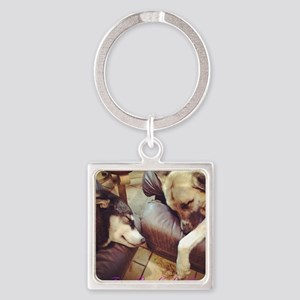Two Dogs Sleeping Square Keychain
