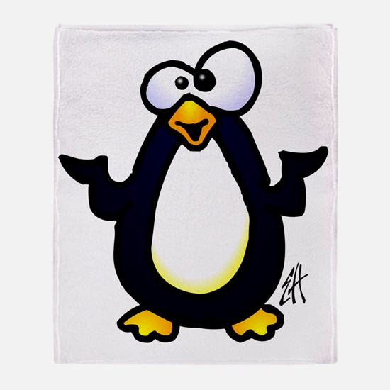 Pondering penguin Throw Blanket