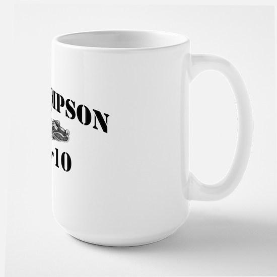 uss sampson black letters Large Mug