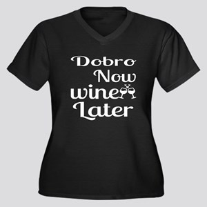 Dobro Now Wi Women's Plus Size V-Neck Dark T-Shirt