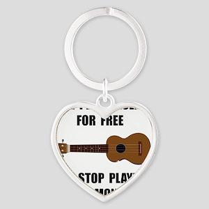 Ukulele Playing Heart Keychain