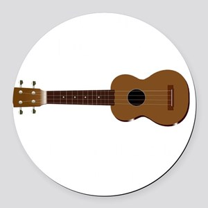 Ukulele Playing Round Car Magnet