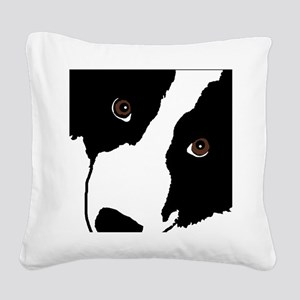 Border Collie Watching Ewe Square Canvas Pillow